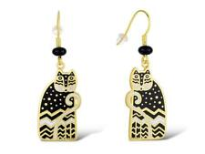 Laurel Burch Polka Dot Gatos Cat #5144 Gold/Brass Drop Dangle Earrings New NWT