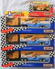 "3x Matchbox 1994 ""Kodak"" #4 Sterling Marlin NASCAR Team Transporter +1 car (MIB)"