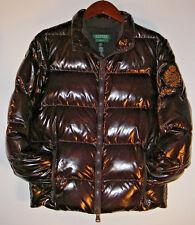 LRL RALPH LAUREN EXCLUSIVE Womens Sz S Brown DOWN Puffer CREST LOGO Jacket Coat