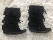 MINNETONKA 3-Layer Fringed Moccasin Boots Women's Size 6 Black Suede Leather