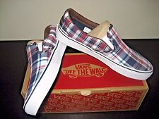 Vans Classic Slip on Mens Plaid Mix Dress Blues White Canvas shoes Size 9 NWT