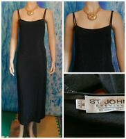ST. JOHN Evening Santana Knit Black Dress L 10 12 Sleeveless Sheath LBD Shimmer