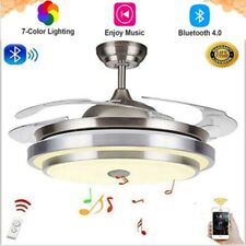 """New 42"""" Retractable Ceiling Fans with Lights Bluetooth Music 7 Colorful W/Remote"""