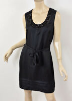 BANANA REPUBLIC Solid Black Silk Jewel Beaded Necklace Trim Tie-Belt Dress M