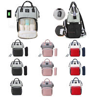 Waterproof Diaper Bag USB Charging Large Capacity Mummy Nursing Backpack Totes