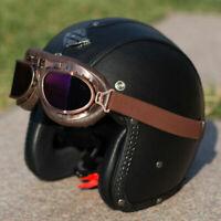 Motorcycle Helmet Open Face Half 3/4 Helmet Deluxe Leather for Scooter Cruiser