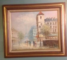 Caroline Burnett Oil On Canvas Painting Eiffel Tower Paris Street Scene Framed