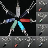 Natural Quartz Crystal Point Chakra Healing Stone Gemstone Pendant Necklace hi