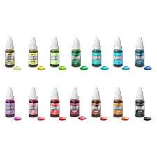 Full Set 14 Rainbow Dust Colour Flo Edible Liquid Food Air Brush Colouring 16ml