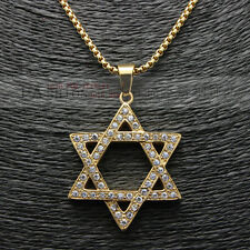 """Mens Gold Iced Out Star of David Pendant Hip-Hop Necklace Box Chain 24"""" 3MM"""