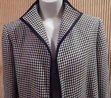 Wm's 'Liz Claiborne Suits' Size 12 Navy Blue & Cream Herringbone Blazer Jacket