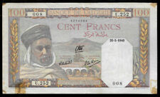 World Paper Money - Algeria 100 Francs 1940 @ Fine Cond.