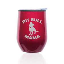 Stemless Wine Tumbler Coffee Travel Mug Glass Cup w/ Lid Pit Bull Mama