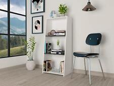 White 3 Tier Bookcase With Grey Oak Effect Panels Shelves Living Room Storage