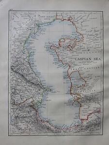 1900 VICTORIAN MAP ~ CASPIAN SEA CAUCASUS BAKU