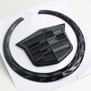 Black Wreath Crest Front Grille Emblem Badge for Cadillac Escalade CTS SRX