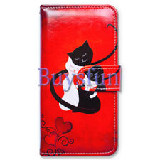 Covdo Black Cat White Cat Red Wallet Leather Cover Case For iPhone XR
