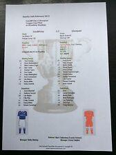 2011-12 League Cup Final Liverpool v Cardiff City matchsheet