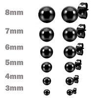 MENDINO Men's Women's 316L Stainless Steel Stud Earrings Ball Bead Black 3mm-8mm