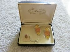 Vintage ANSON Gold/Silver/Bronze Boxed CUFFLINKS & Tie Tack