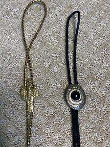 Lot of 2 Bolo Neck Tie Western Gold Cactus Black Silver Stone Vintage