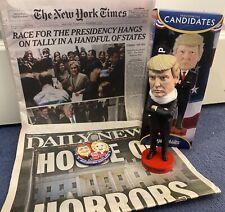 More details for president trump memorabilia, 2 x newspaper & royal bobble head