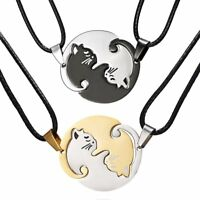 Stainless Steel Heart Love Animal Cat Pendant Necklace Mother's Day Women Gift