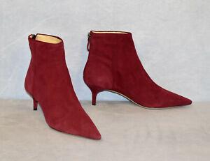 D5 NEW ALEXANDRE BIRMAN Low Heel Red Kittie Suede Ankle Bootie Shoes Sz 37 $695
