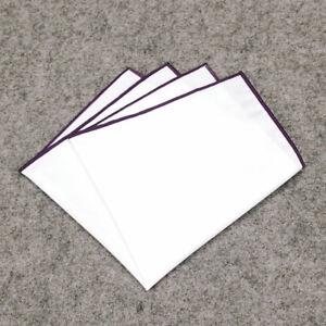 Men White Candy Color Border Cotton Pocket Square Handkerchief Party Supplies
