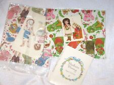3 Vintage Current Paper Dolls Gift Wrap Beatrice Bunny 1991 Christmas Victoria +