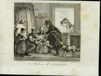 Country Doctor Healing Child Family Prayer 1835 scarce antique view print France