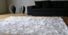 6ft x 7ft Alpaca Suri Carpet.  White Colour. Handmade on Genuine Suri Alpaca Fur