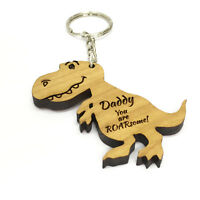 Personalised Wooden Dinosaur Keyring Engraved Daddy Father's Day Birthday gift