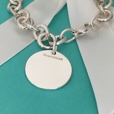 Large Tiffany & Co Silver Round Tag Charm Bracelet Blank Perfect For Engraving