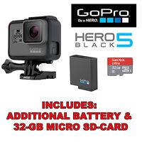 GoPro HERO5 Black Edition 4K HD Waterproof Action Camera +32GB SD-Card + Battery