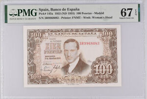 Spain 100 Pesetas 1953 / 1955 P 145 a Superb Gem UNC PMG 67 EPQ