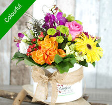 Fresh Flowers Delivery Sydney - Stylish Hatbox- Colourful- Mother's Day Flowers