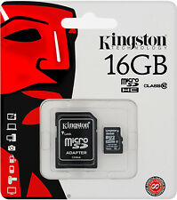 KINGSTON 16GB MICRO SDHC Class 10 SD Card & Adapter SDC10G2/16GBFR [f30]