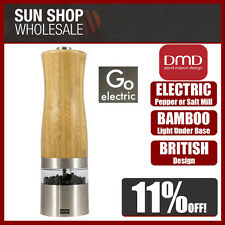100% Genuine DMD Go Electric Bamboo & S/S Pepper or Salt Mill Grinder with Light