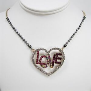 Betsey Johnson Harlem Shuffle Love Necklace Pink Crystal Pave' Heart Pendant
