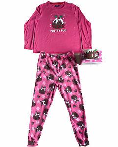 Womens Pink Christmas Pudding Pyjama Set Mug Pj's Festive Xmas Size 12 / 14
