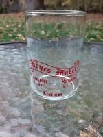 Vtg Hines Motel Kentucky Frankfort US 60 Richmond US 25 Federal Drink Glass 40s