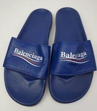 Balenciaga Retro Campaign Logo Slide Men's Blue Ocean Sandals Size 46 EU / 13 US