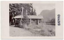 Real Photo Postcard Log Cabin on a river Skyko, Alaska~106970