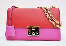 Gucci Linea C Leather Borsa Padlock Medium GG Shoulder Bag,Red/Pink, MSRP $2,190