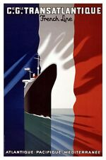 Vintage French Cruise Travel Poster Rolled CANVAS ART PRINT 24x34 in.