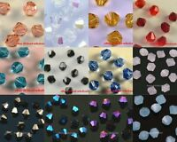 100pcs 4mm Loose Glass Bicone Beads Spacer Beads Finding for Jewelry / Craft