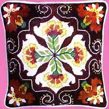 1*VERY VINTAGE NEEDLEPOINT*HANDPAINTED BUCILLA * PERSIAN FORAL PILLOW * WOOL KIT