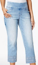 $69 JAG Baker Pull-On Embroidered Crop Jeans, J2408190BLIS, Blue Issues 12