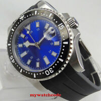 40mm bliger blue dial sapphire glass date ceramic bezel automatic mens watch 313